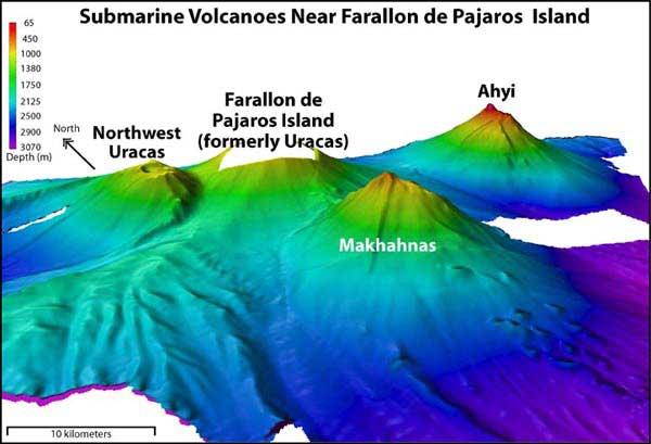volcanes en el Farallon de la Isla de los pájaros, batimetría