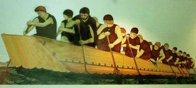 barco con remeros de la Edad de Bronce