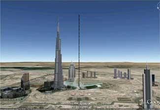 comparación altura con una torre de Dubai