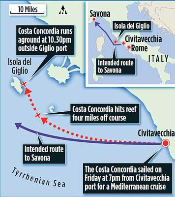 naufragio del Costa Concordia, mapa