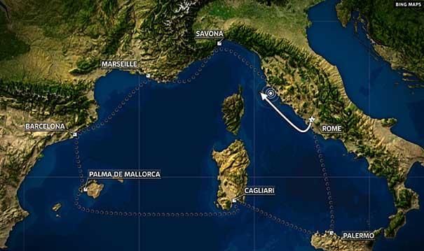 crucero Costa Cconcordia vuelca, mapa