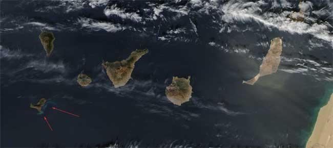 erupción El Hierro desde el espacio, Aqua 12-01-2012