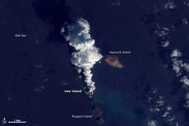 erupción volcánica Mar Rojo, modis-2011