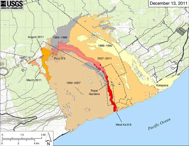 mapa con el recorrido de lava boca Pu`u O`o - volcán Kilauea Hawái