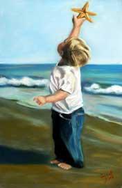 niño y estrella de mar