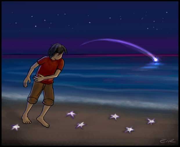 niño salvando estrellas de mar