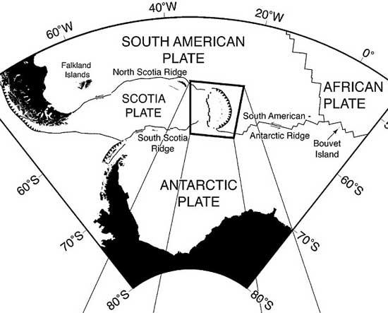 situación de la placa placa Escocia en la Antartida