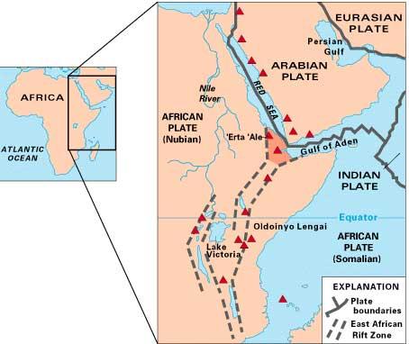 placas tectónicas africana y arábiga