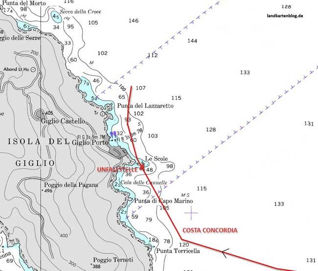 ruta del Costa Concordia