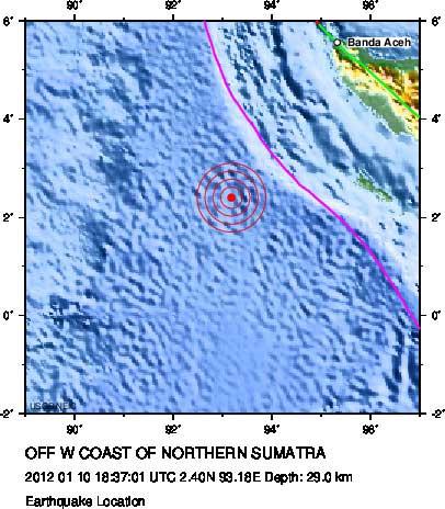 terremoto norte de Sumatra 10 de enero de 2012
