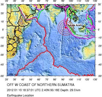terremoto en Sumatra 10 enero 2012