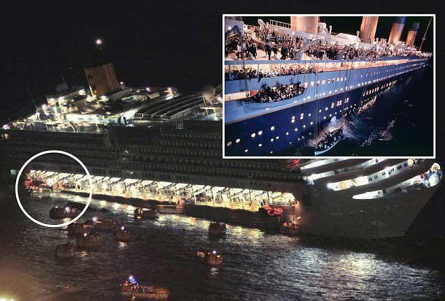 Desalojo Costa Concordia y Titanic