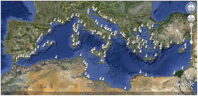 localizacion con Google Earth de las piscifactorías en el Mediterraneo