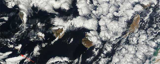mancha en el mar erupción El Hierro, Terra 07-02-2012