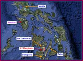 mapa de Filipinas, situación zonas del terremoto