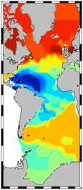 mapa isoscape del Océano Atlántico