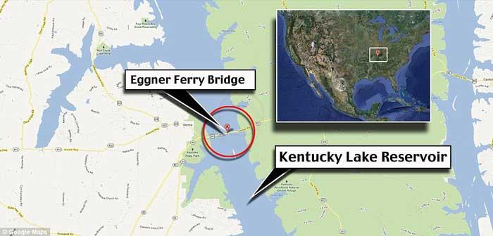 mapa de situación del Lago Kentucky