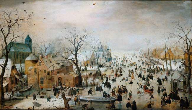 paisaje de invierno medieval con patinadores