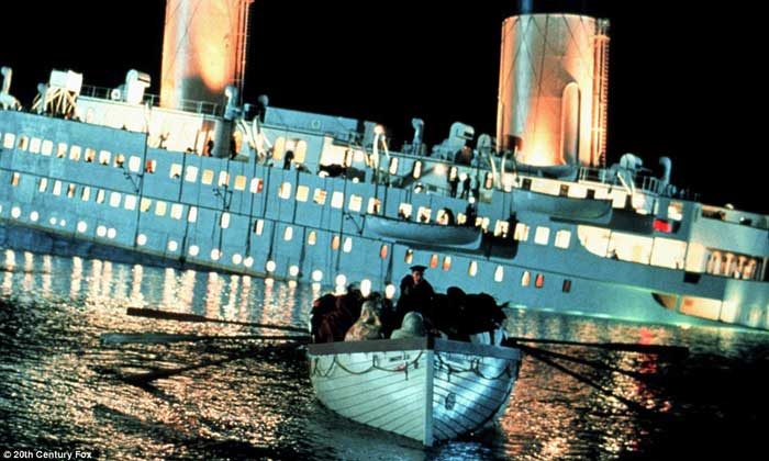 escena de la película Titanic  de James Cameron