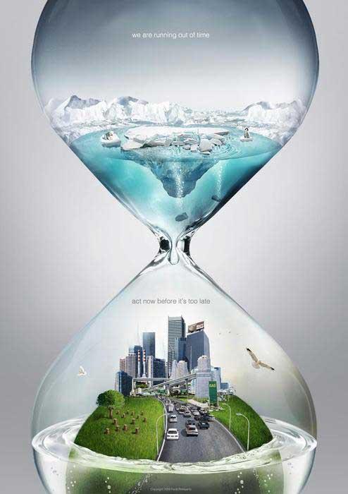 reloj de arena del cambio climático en el Ártico
