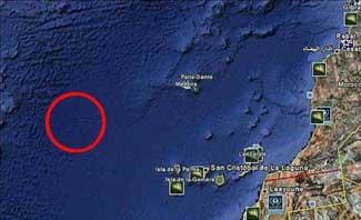 situación Atlántida en Google Earth Ocean