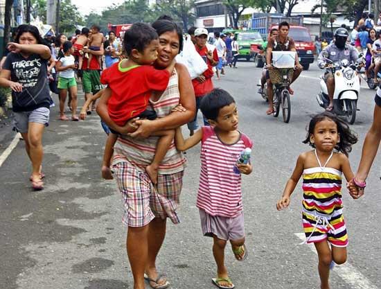 terremoto Filipinas febrero 2012, huida