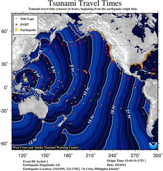 tiempo de desplazamientos tsunami de Filipinas, febrero 2012