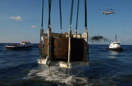 torreta giratoria recuperada del naufragio del USS Monitor