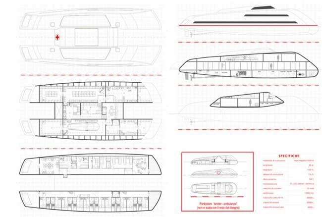 catamarán como barco hospital de Marino Alfani, planos