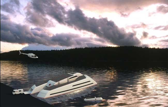 catamarán como barco hospital de Marino Alfani,  concepto artístico