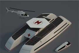 catamarán como barco hospital de Marino Alfani, helipuerto