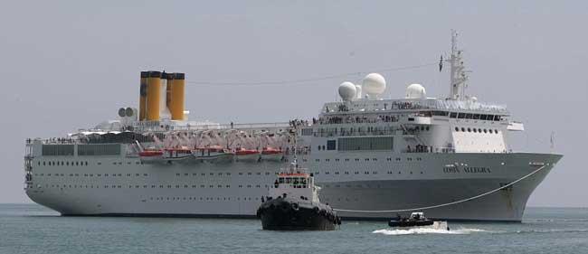 el crucero Costa Allegra llega a Victoria, en Mahé, Seychelles
