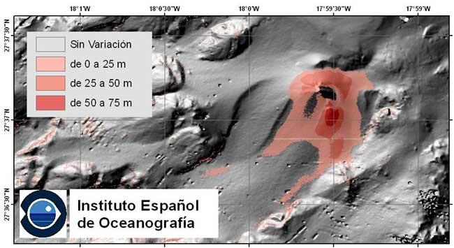cúmulo de depositos en la zona de erupción de El Hierro