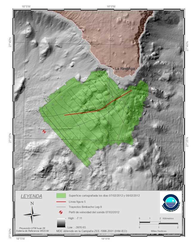 derrotas del Ramon Margalef y superficie cartografiada, volcán El Hierro