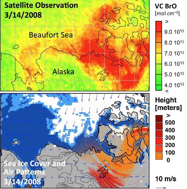 explosión de bromo en el Ártico en 2008