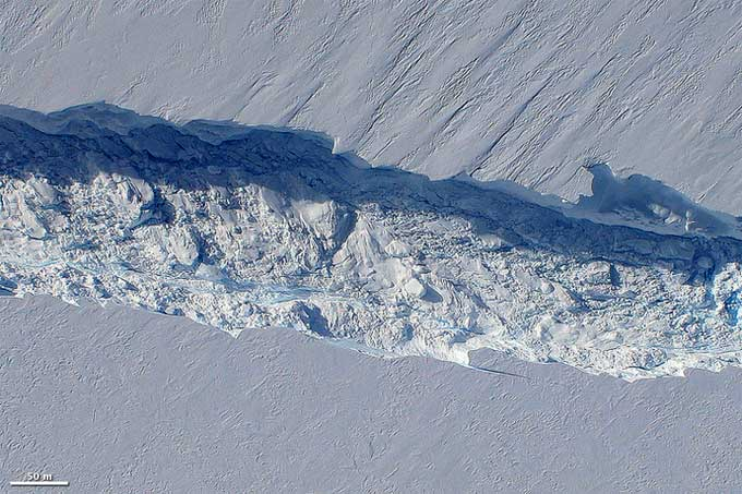 grieta del glaciar Pine Island, Antártida