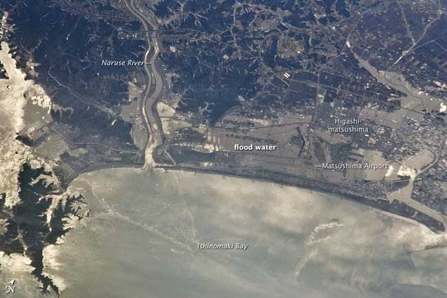 Higashimatsushima, inundaciones después del tsunami