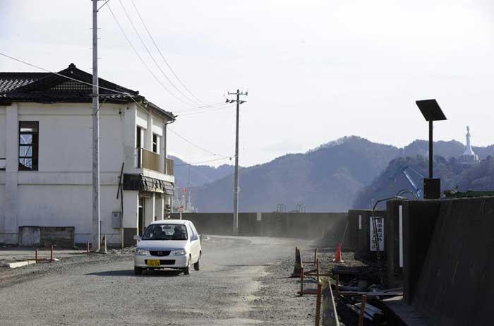 zona de un barco varado en Kamaishi, ahora