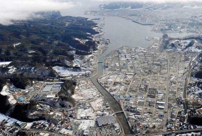 Kesennuma vista aérea, ahora