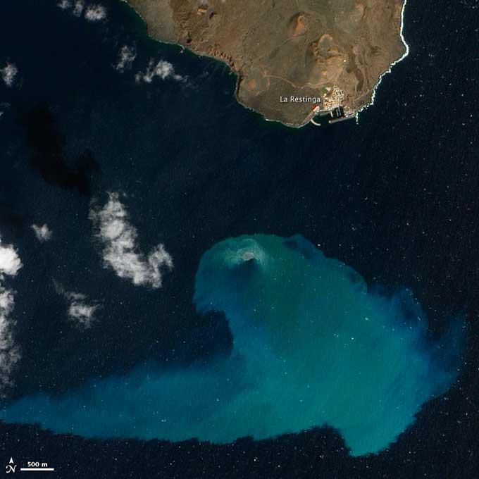 mancha en el mar erupción volcán El Hierro, satélite NASA