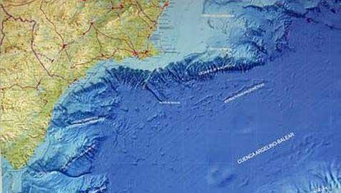 mapa topobatimétrico región costera de Murcia