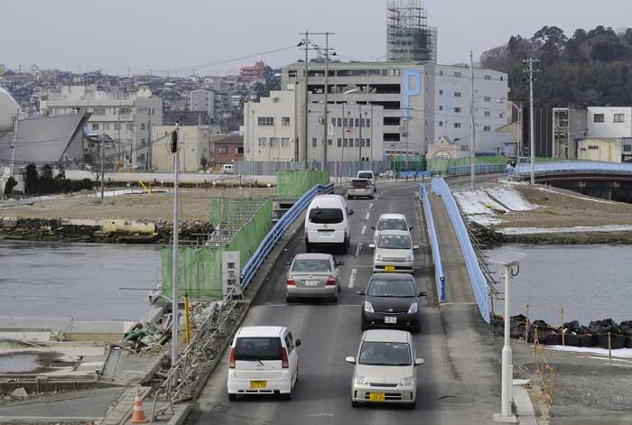 un puente en Ishinomaki, ahora
