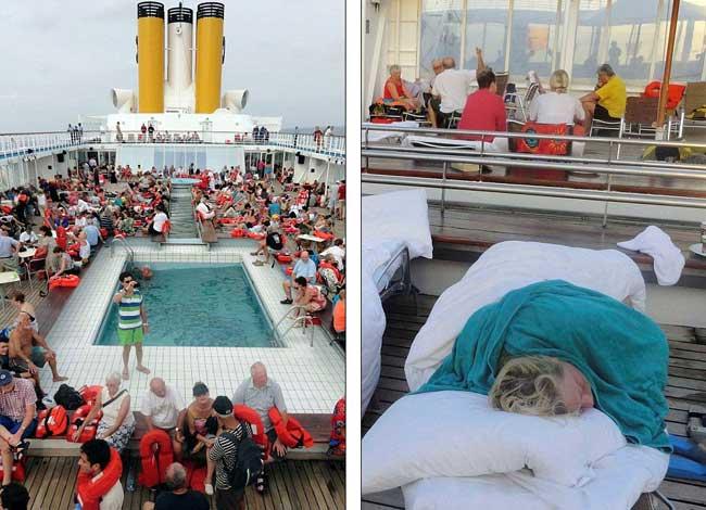 pasajeros del crucero Costa Allegra en la cubierta