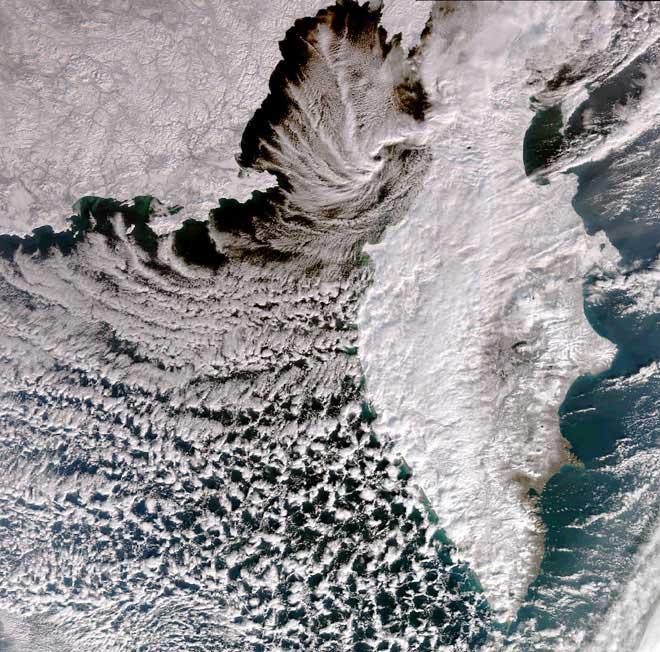 península de Kamchatka desde el satélite Envisat