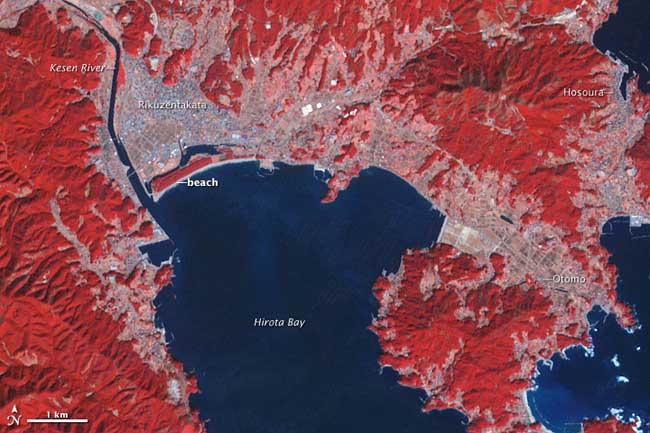 zona de Rikuzentakata imagen de satélite 2007