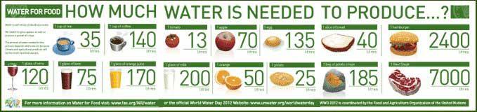 agua necesaria para producir diversos alimentos