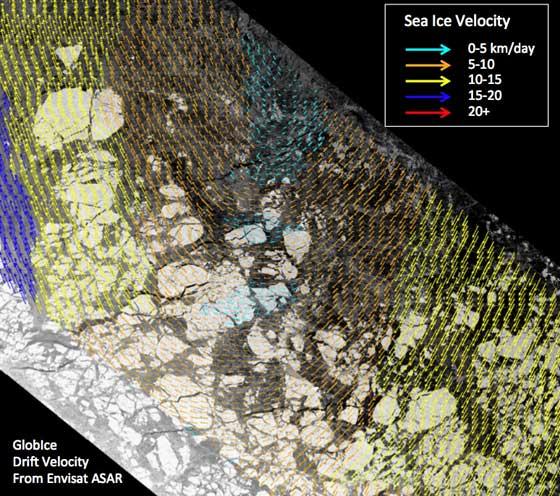 deriva del hielo marino flotante del Ártico