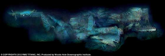 foto de la popa del Titanic hundido