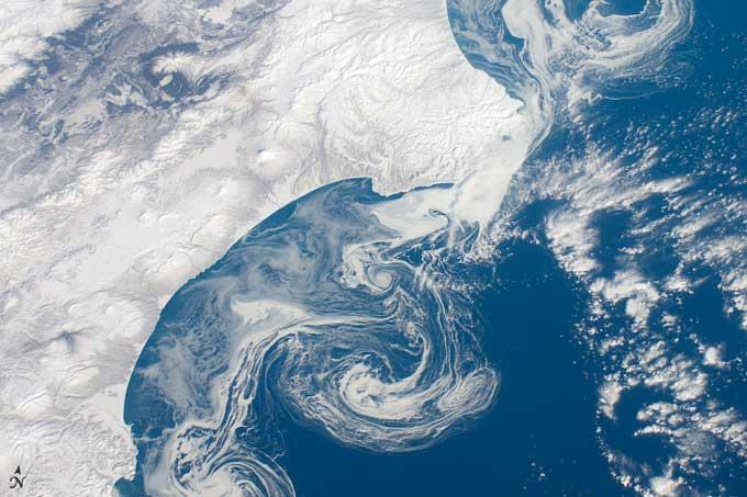 hielo marino en el Pacífico de Siberia