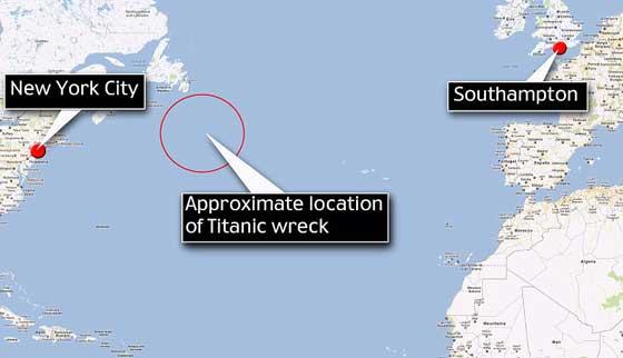 lugar del hundimiento del Titanic